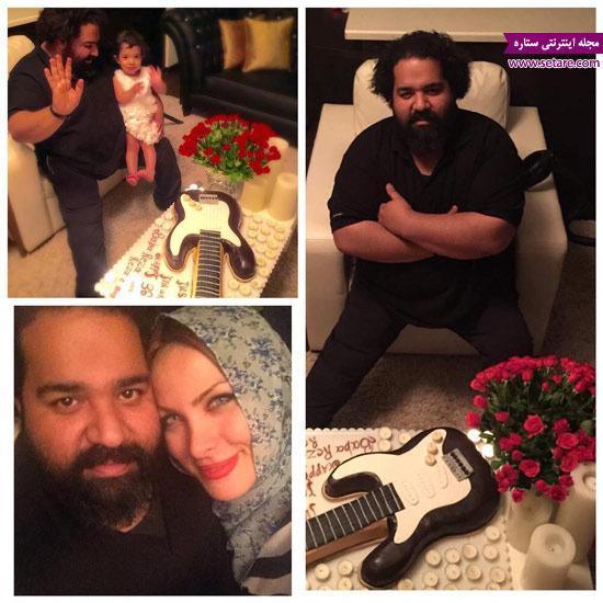 عکس جشن تولد رضا صادقی در کنار همسرش و تیارا