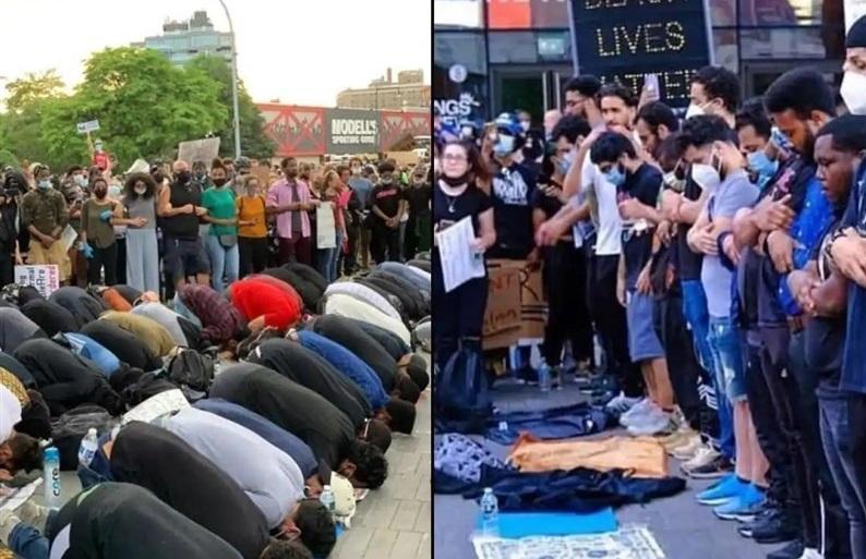 اقامه نماز وحدت در خیابان های ملتهب آمریکا